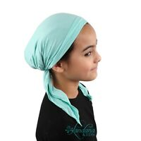Girls Pretied Headscarf Mint Green Kids Cancer Chemo Hair Loss Beanie Head Cover