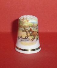 HORSE and HOUNDS Scene Thimble Hunting Dogs Terrier by Kesall Staffordshire