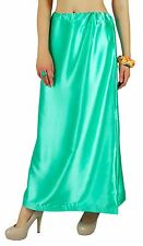 India Saree Petticoat Underskirt Satin Silk ocean green belly dancing slip sale
