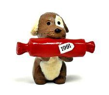 Rare 1991 Puppy Dog Gift Bringer Present Merry Miniature Ornament Cute &Scarce