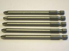 5 X STANLEY 100mm Long PZ 2 Screwdriver Bits