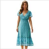 Women Boho Dress V Neck Holiday Sundress Tunic  Summer Midi Floral Short Sleeve