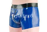 Latex Underwear Men Black Waist Boxer Shorts With Zipper 0.4mm Rubber Size S-XXL