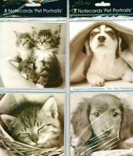 Pack of 8 Notlets/Notecards plus envelopes -  Blank Inside - Kittens or Puppies