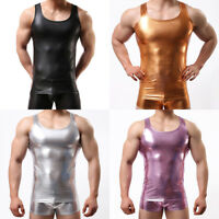 Mens Spandex Stretch Vest Tank Tops Sleeveless T-shirt Metallic Shiny Tee Muscle