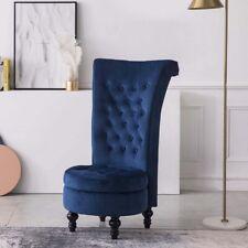 Velvet Accent Ottoman Chair Upholstered High Back Armless Sofa Living Room Blue