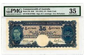 Australia ... P-27b ... 5 Pounds ... ND(1941) ... CH*VF-XF*. PMG 35 VF-XF)-KGV-