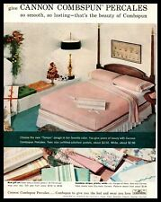 1959 Cannon Mills Combspun Percales Pastel Color Bed Sheet Set Vintage Print Ad