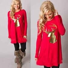 Women Christmas Elk Dress Long Sleeve Casual Xmas Loose Swing Flared Mini Dress