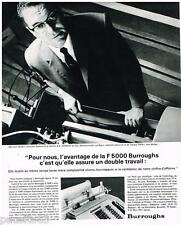 PUBLICITE ADVERTISING 105  1964   BURROUGHS la F5000 MR PETEY  STE STOCKVIS