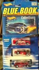 Hot Wheels 2002 Blue Book with 3 Die Cast Cars Ferrari Riley & scott