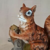 Vintage Ceramic Squirrel  on Log Holding Nut Detailed 80's 90's Good Condition