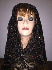 Black Long Scarf Hijab Wrap Sheer pretty and fashionable w/metallic thread