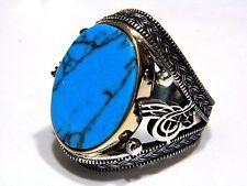 TURCO Ottomano turchese pietra preziosa 925 Argento Sterling Da Uomo Anello Pietra preziosa