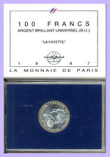 100 FRANCS ARGENT B.U LAFAYETTE 1987  EN COFFRET DE LA MONNAIE DE PARIS
