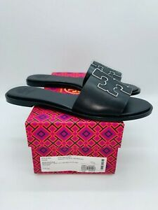 Tory Burch Women's Ines Slide Sandals Black / Silver Leather- choose size