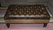 Leather Tufted Cocktail Ottoman / Real Hide With Leopard Print