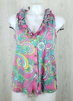 Lilly Pulitzer Size M Reenie Silk Cotton Blend Top Sleeveless Ruffle Buttons