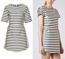 Topshop Mini Dress, Navy and White Cream Striped, Size UK 10 / US 6 $120 MSRP
