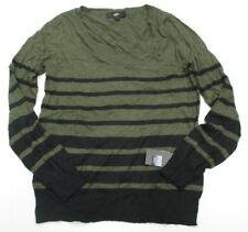 new MOSSIMO #K1322 Women's Size L V-Neck Casual Knit Striped Olive Green Sweater