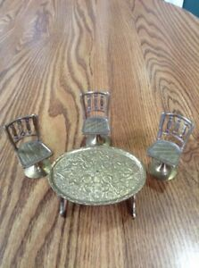 Vintage BRASS DOLL HOUSE FURNITURE 1970's Made in India Table/ 3 Pedestal Chairs