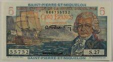 Saint Pierre and Miquelon, 5 Francs, Nd (1950). P-22. Unc