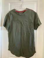 FIVE FOUR MEN'S ZIPPED POCKET T-SHIRT SIZE M GREEN WITH RED STITCHES MADE IN USA