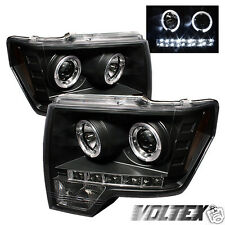2009-2012 FORD F150 HALO LED PROJECTOR HEADLIGHTS LIGHTBAR LIGHT BAR BLACK