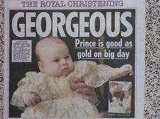 BABY GEORGE CHRISTENING.WILLIAM & KATE.SUN NEWSPAPER SOUVENIR NEW 24TH