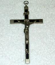 Antique 1800's German SKULL & Crossbones CRUCIFIX Cross; Bronze & Ebony GERMANY
