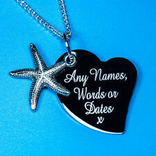 Personalised Silver Sea Starfish Free Name Text Engraved Charm Pendant Necklace