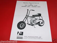 VINTAGE RUPP CHOPPER  MINI BIKE (1 & 2)  MANUAL  4 PAGES  1969 (REPRODUCTION )