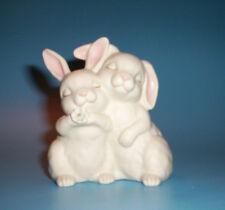 "1990 Homco ""He Loves Me"" White Bunny Rabbits 4"" Figurine"