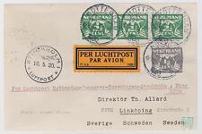 1930 Netherlands First Flight Cover to Sweden Rotterdam Hannover Copenhagen