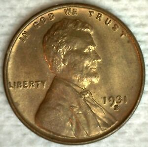 1931 S Lincoln Wheat Cent Coin 1c US Penny Brilliant Uncirculated San Francisco