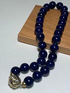 """VTG Lapis Lazuli 13.75-14mm Necklace 18k white & yellow gold clasp 12 dias 17"""""""