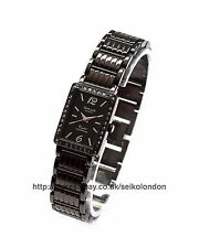 Omax Ladies Diamonte Black Dial Watch, Black Finish, Seiko Movt. RRP £49.99