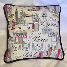 Provence French Country Cottage Pillow Paris New York London Black Beige Gray