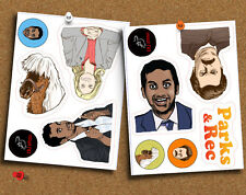Set of 11 Parks and Recreation Stickers, Ron Swanson, Leslie Knope, Rec