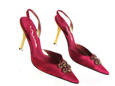 DESIGNER NINA BURGUNDY SATIN JEWEL ACCENT -CRAVE GOLD HEELS SLINGBACKS SIZE 8.5M