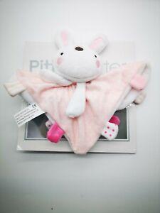 personalsied Pitter Patter PINK RABBIT  Comforter blanket taggie