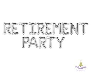 RETIREMENT PARTY Letter Balloon Banner - Gold, Rose Gold and Silver