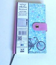 Pocket Notebook with pen 200 pages 70gsm Floral bike design Work Office Shopping