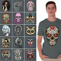 Sugar Skulls Day of the Dead shirt Dia De Los Muertos Halloween Shirts CHARCOAL