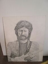 Eric Clapton Drawing Art on Board Rare 20 in x 16 in / 508 mm x 406 mm