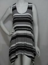 JOSTAR TRAVEL KNIT  LONG TANK  POINTED  SIDE TOP     LRG(C)   BLACK/WHITE