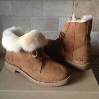 UGG Quincy Chestnut Suede Sheepskin Lace up Ankle Boots Shoes Size US 10 Womens