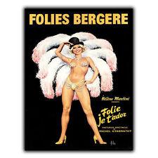 Folies Bergere French Paris Cabaret Metal Sign Wall Plaque Vintage print poster