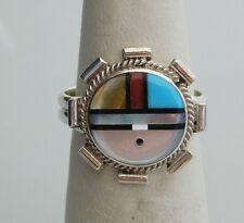 NATIVE AMERICAN ZUNI TURQUOISE CORAL ONYX PEARL SUNFACE RING SIZE 7.5  STERLING