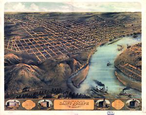 "Bird's Eye View St. Joseph Missouri Vintage Map Poster - 8.5"" x 11"" Reprint"